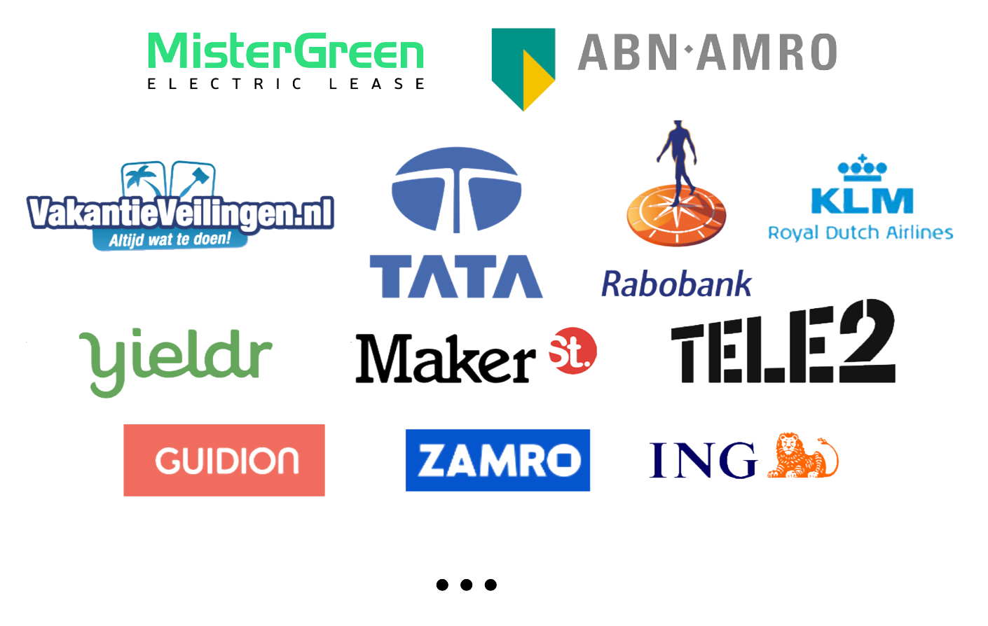 MisterGreen Direct, ABN AMRO, ING, VakantieVeilingen, Tata Consulting Services, Rabobank, KLM, Yieldr, Maker Street, Tele2, Guidion, Zamro